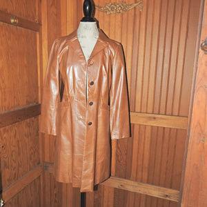 Cole Haan beautiful Tan Shiny Long Jacket Sz 4